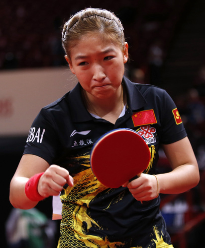 中国选手刘诗雯在比赛中
