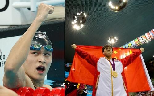 左图为2009年10月24日,浙江队选手孙杨庆祝胜利。孙杨在第十一届全国运动会男子1500米自由泳决赛中,以14分54秒87的成绩获得冠军。</p></a></h2> <div class=