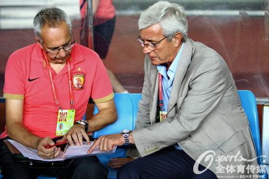 里皮与助理教练马达洛尼交流