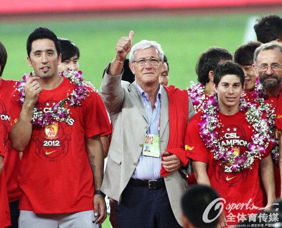 2012年10月27日,里皮率领恒大夺得中超联赛冠军。