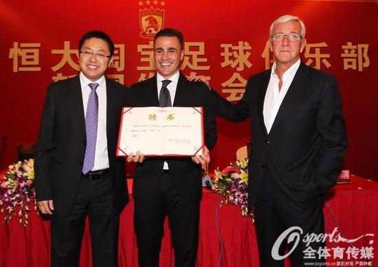 2014年11月5日,广州恒大宣布卡纳瓦罗任执行主教练,里皮任主教练。