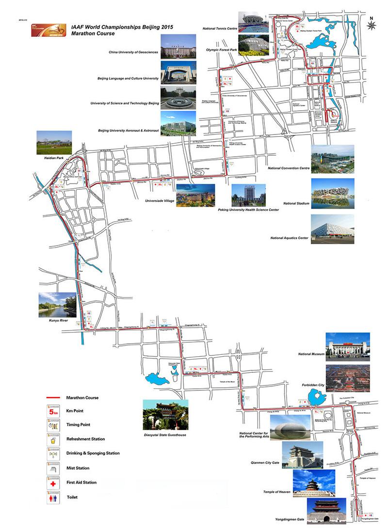 北京田径世锦赛--马拉松路线图