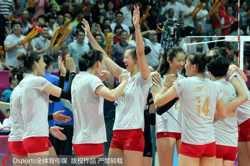 女子排球-女排大奖赛中国3 1胜美国 3战全胜夺北仑站冠军
