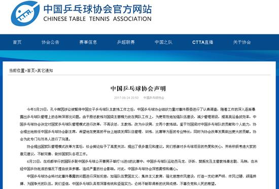中国乒协发表声明:对男乒弃赛深感震惊