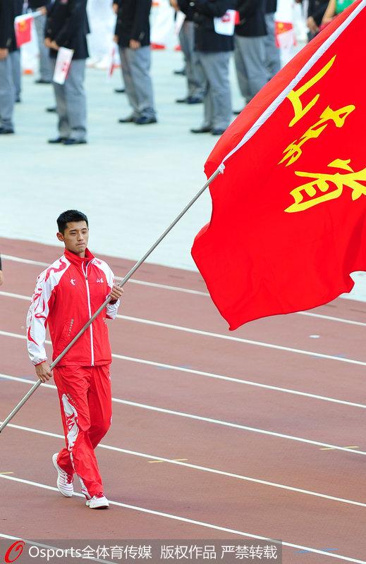 13年第十二届全运会开幕式,山东代表团旗手张继科-十三运会即将开
