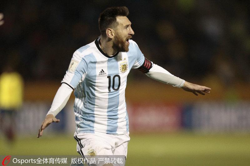 世预赛-梅西帽子戏法立功阿根廷逆转厄瓜多尔闯入世界杯