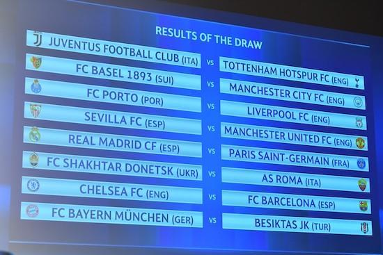 欧洲冠军联赛1/8决赛抽签仪式在瑞士尼翁欧足联总部进行
