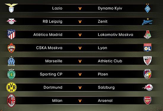 欧联杯1/8决赛抽签结果:AC米兰将与阿森纳强强对话