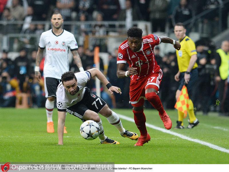 欧冠-蒂亚戈破门 拜仁总分8-1淘汰贝西克塔斯