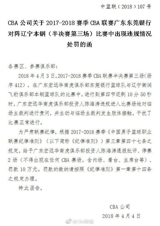 广东男篮投资人推搡裁判被罚 罚款10万2场不得入场