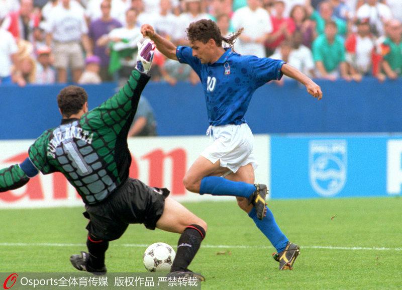 1994年世界杯四分之一决赛,巴乔88分钟绝杀。