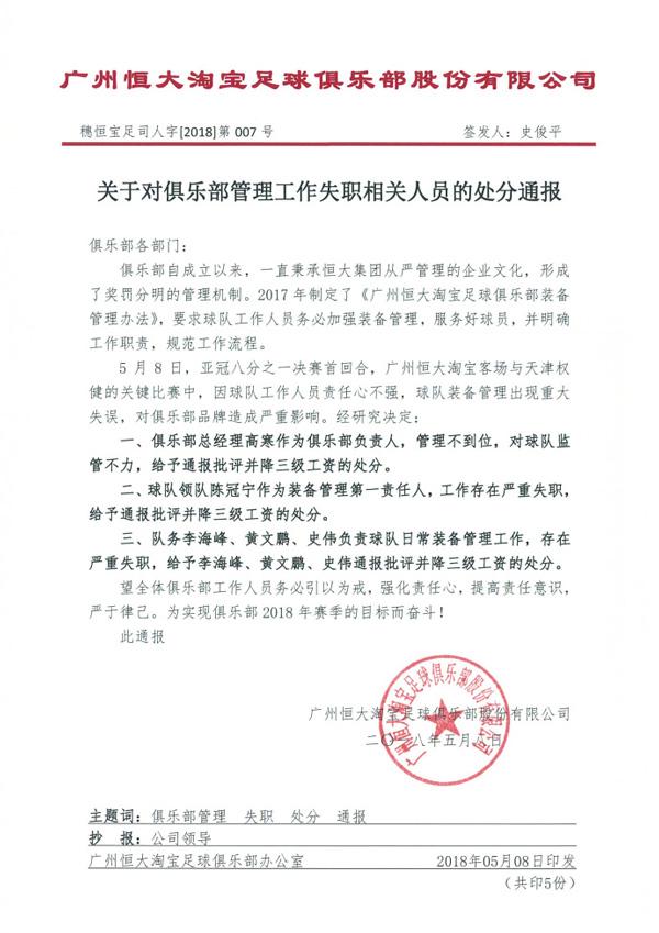 恒大罚单:张琳芃比赛无备用球衣 总经理高寒降三级工资