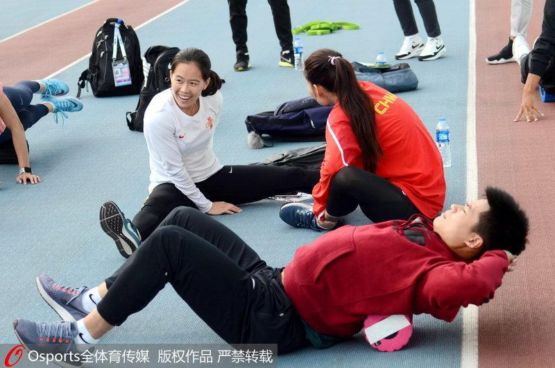 中国田径队在赛前备战中
