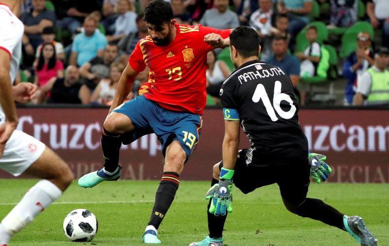 世界杯热身赛-科斯塔助攻神枪破门 西班牙1-0突尼斯