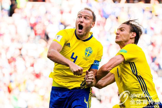 2018年6月18日,2018年俄罗斯世界杯F组:瑞典1:0胜韩国,格兰奎斯特点射制胜。 (Osports全体育传媒 版权作品 严禁转载)