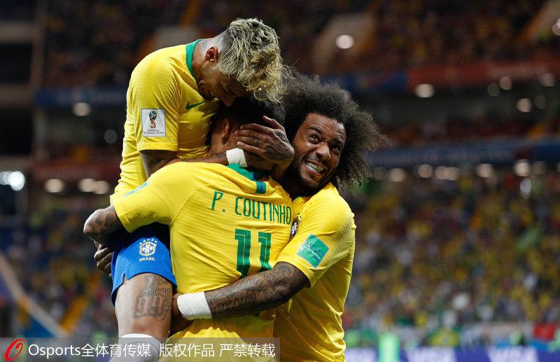 小组赛第一场巴西1-1瑞士,库蒂尼奥世界波首开纪录