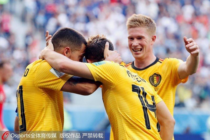 高清:默尼耶、阿扎尔建功 比利时2-0英格兰获得季军