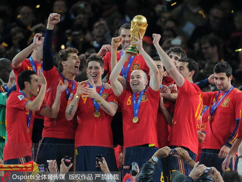 2010年南非世界杯,西班牙队捧起大力神杯