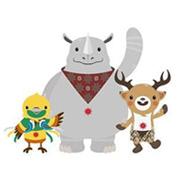 亚运会吉祥物       吉祥物由三种独特的野生动物组成,它们分别是极乐鸟、犀牛和花鹿这三个动物代表印尼的三个区域,体现了民族团结意识。