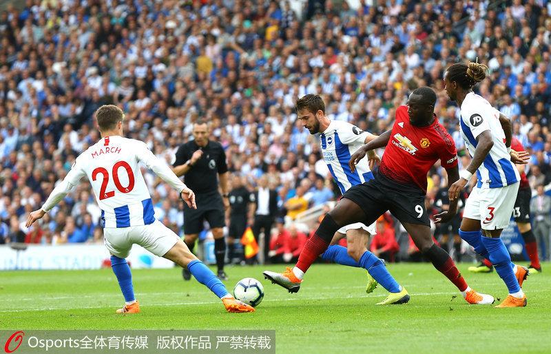 英超-卢卡库博格巴进球曼联爆冷2-3负布莱顿