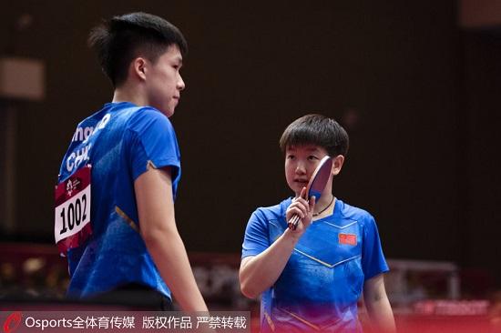 亚运-乒乓球混双决赛成中国德比 王楚钦/孙颖莎摘得金牌