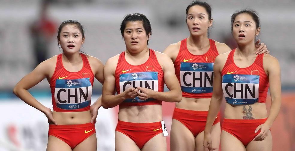 高清:田径女子4x100米接力决赛 中国队憾得亚军