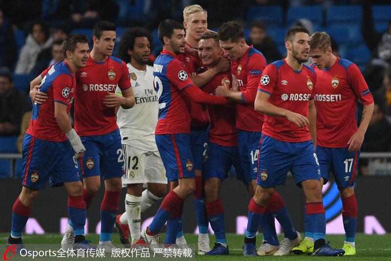 欧冠-阿森西奥击中横梁 皇马0-3负莫斯科中央陆军惨遭双杀