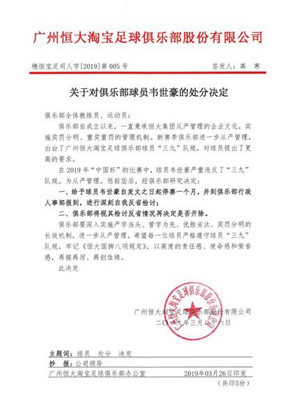 恒大处分韦世豪停赛一个月视反省情况决定是否开除