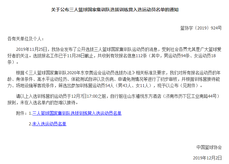 中国篮协公布三人篮球国家集训队选拔训练营入选球员名单