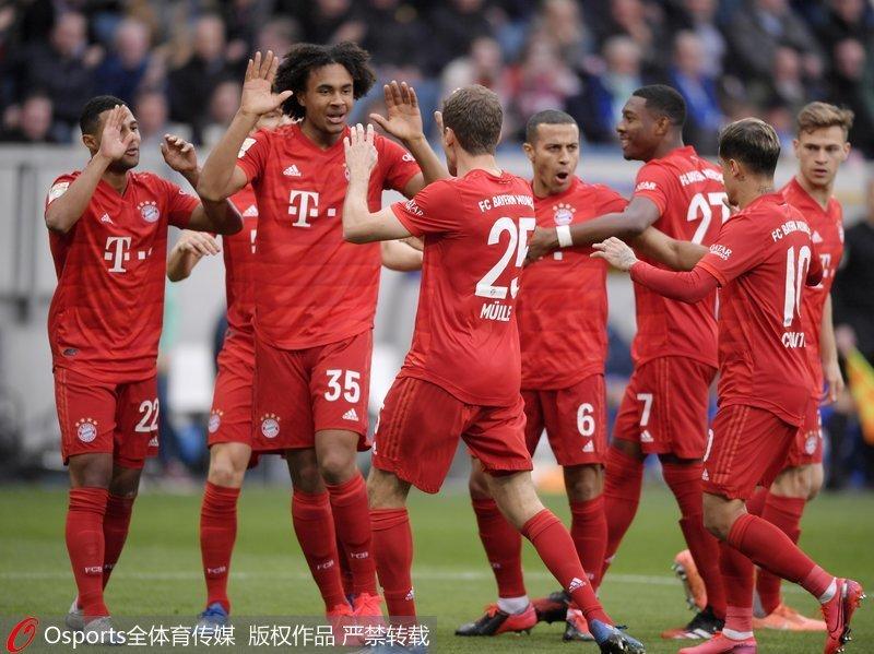德甲-库蒂尼奥梅开二度 拜仁慕尼黑6-0大胜霍芬海姆