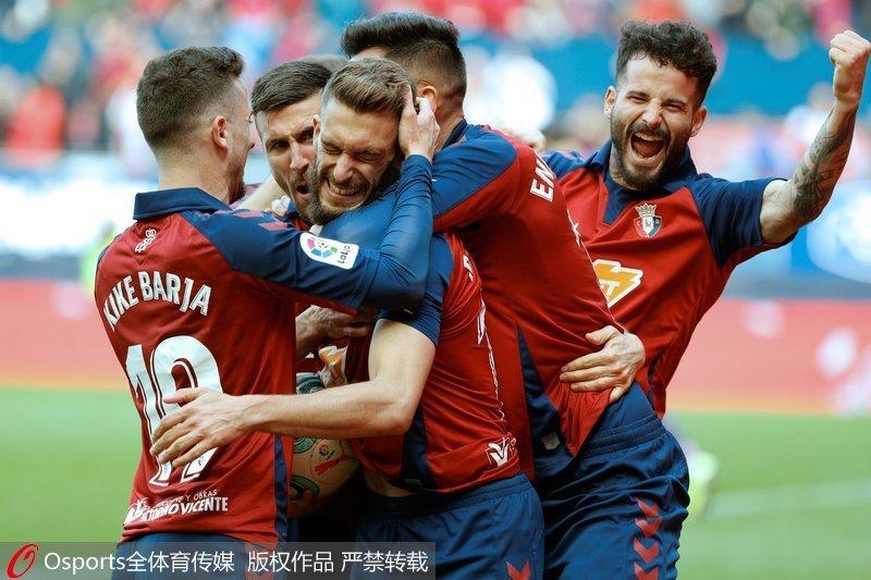 西甲-武磊半场被换下场奥萨苏纳1:0胜西班牙人