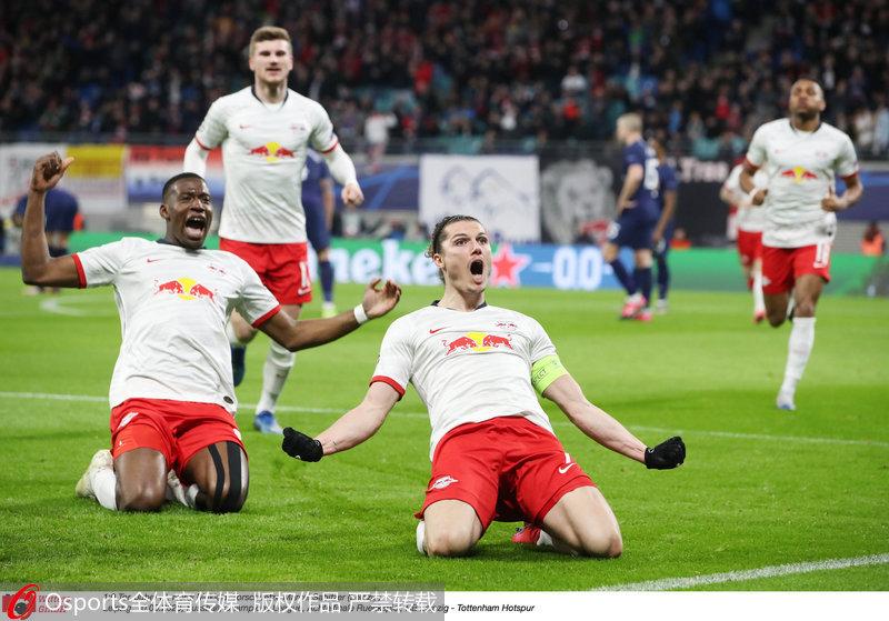欧冠-1/8决赛第二回合萨比策双响莱比锡3-0双杀热刺晋级