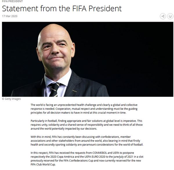 因凡蒂诺:国际足联将江苏卫视回放观看今天商讨2021年世俱杯推迟举办