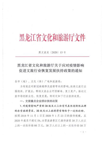黑龙江省出台文旅行业扶持政策 滑雪场最高补助200万元