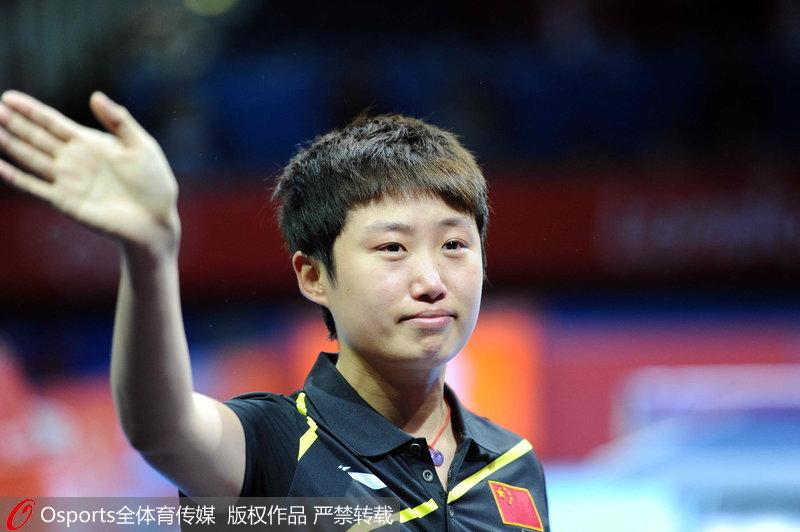 2012年8月7日,乒乓球女团决赛,中国3:0日本。郭跃庆祝夺冠。
