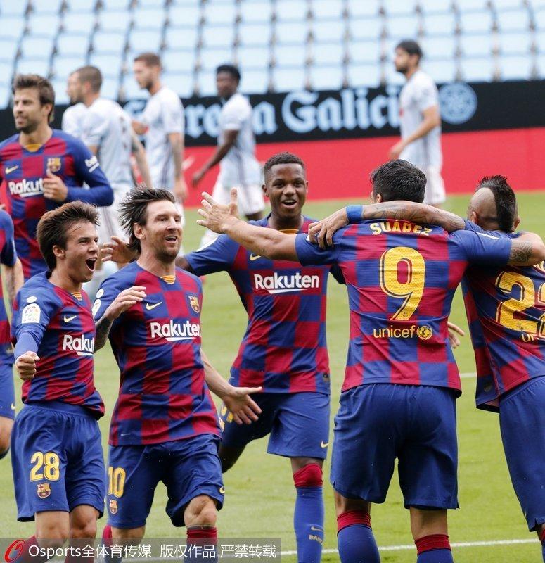 西甲-梅西助攻苏亚雷斯梅开二度巴萨客场2-2平塞尔塔