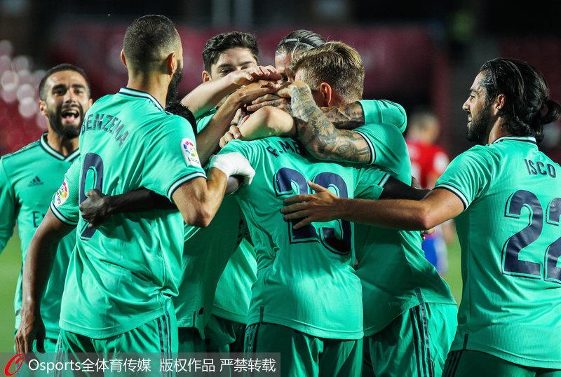 西甲-皇马2-1力克格拉纳达 9连胜4分领跑夺冠在望