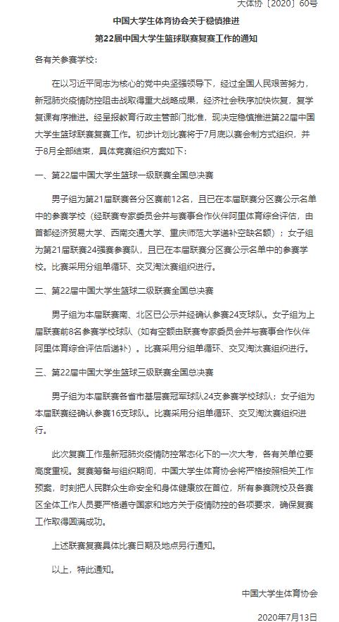 中国大学生篮球联赛(CUBA)计划7月底复赛