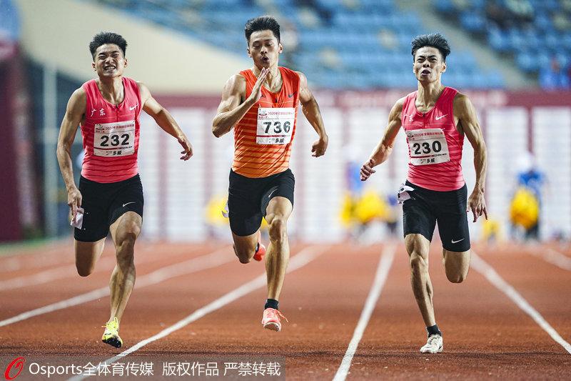 高清:全国田径锦标赛 谢震业摘男子100米金牌