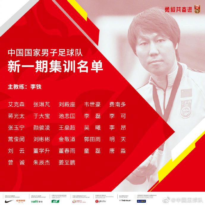 国足公布28人集训名单 归化球员蒋光太费南多首次入选