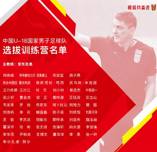 中国足协组织U18国足选拔训练营何小珂等48名球员入选