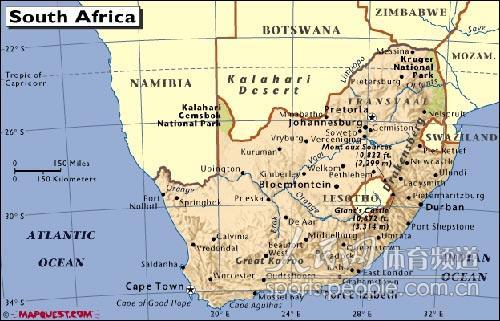 版图内两个黄色的圈是南非的国中国史瓦济兰和莱索托