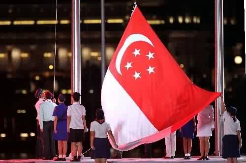 新加坡国旗在闭幕式上升起. 新华社记者凡军摄
