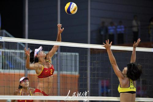 亚运会沙滩排球 中国队胜韩国队 6